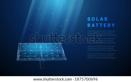 Abstract blue solar battery, solar panel, renewable energy. Low poly style design. Geometric background. Wireframe light connection structure. Modern 3d graphic concept. Isolated vector illustration.