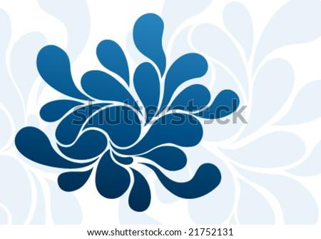 Abstract blue splash drops background design