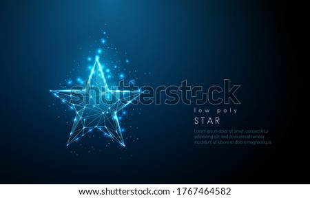 Abstract blue star. Low poly style design. Abstract geometric background. Wireframe light connection structure. Modern 3d graphic concept. Isolated vector illustration.