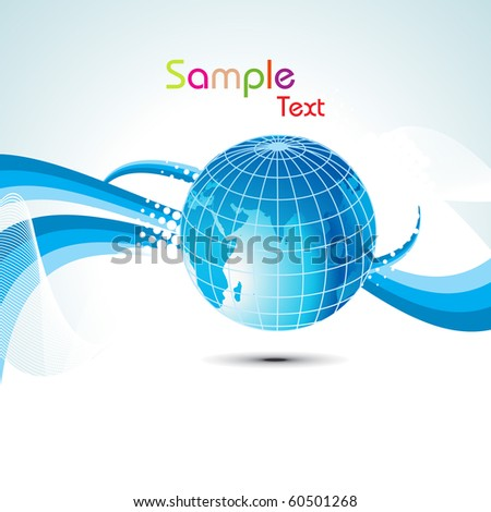abstract blue stripes, curve wave background with globe