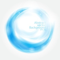 Abstract blue swirl circle,Vector illustration for your modern design, Round frame or banner with place for text. Special effects. Translucent elements.