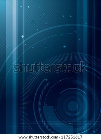 Abstract blue technical background in vector illustration