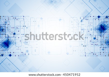 Abstract blue technological background. Structure square pattern backdrop. Vector
