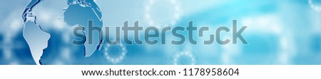 Abstract blue technology modern corporate web header banner. Vector background template with bridge landscape, globe and gears. Banner illustration
