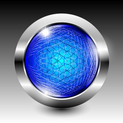 Abstract blue textured wireframe round background with a shiny silver frame. Vector illustration
