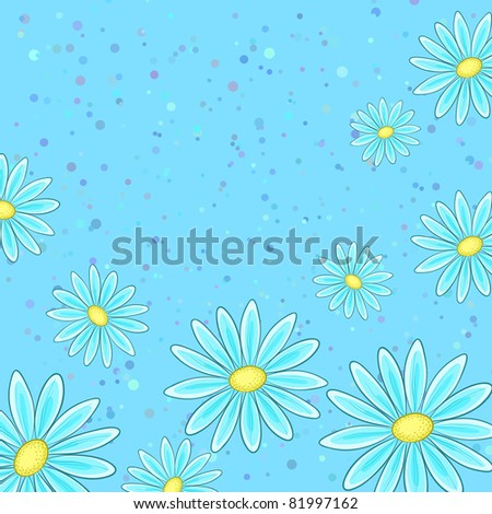 Abstract blue vector background with a symbolical flowers and confetti