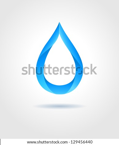 Abstract blue water drop on gray background. Vector creative concept.