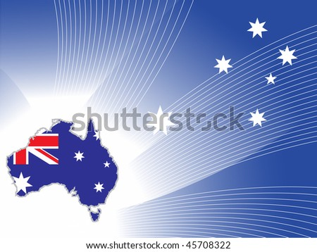 abstract blue wave, star background with australia map