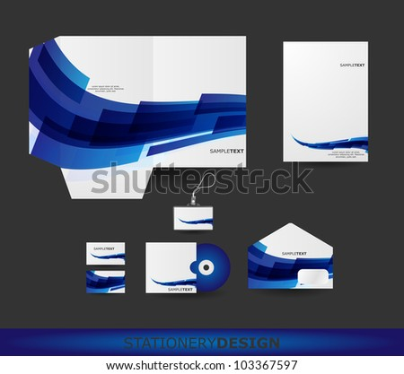 Abstract Blue Wave Stationery design set in vector format