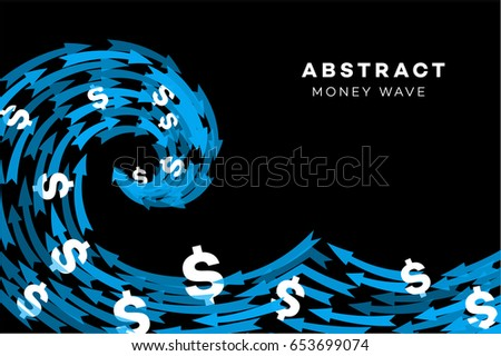 abstract blue wave with dollars