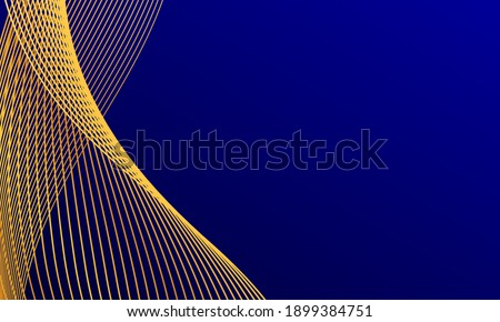 abstract blue wavy background with gold line wave, can be used for banner sale, wallpaper, for, brochure, landing page.