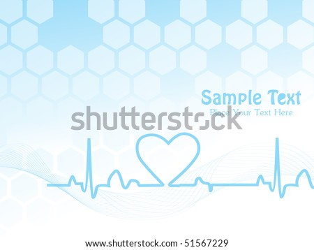abstract blue wavy background with heart beat and sample text
