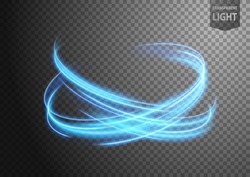 Abstract blue wavy line of light with a transparent background, isolated and easy to edit. Vector Illustration