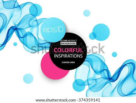 Abstract blue wavy lines.  Colorful vector background stock photo