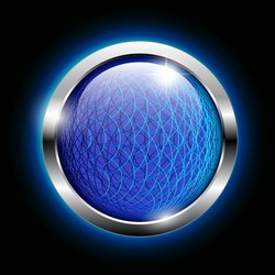 Abstract blue wireframe round background with a shiny silver frame. Vector illustration