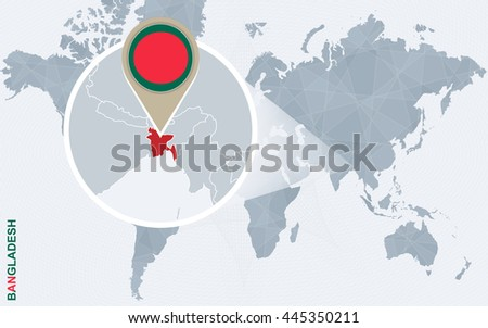 Bangladesh map with flag vector set download free vector art abstract blue world map with magnified bangladesh flag and map vector illustration gumiabroncs Images