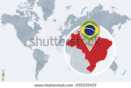 Brazil map and flags download free vector art stock graphics images abstract blue world map with magnified brazil brazil flag and map vector illustration gumiabroncs Choice Image