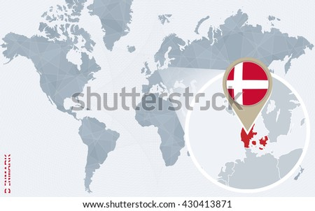 Free denmark icons and landmark vector download free vector art abstract blue world map with magnified denmark denmark flag and map vector illustration publicscrutiny Images