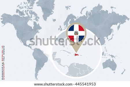 Abstract Blue World Map With Magnified Dominican Republic. Flag And Map.  Vector Illustration.