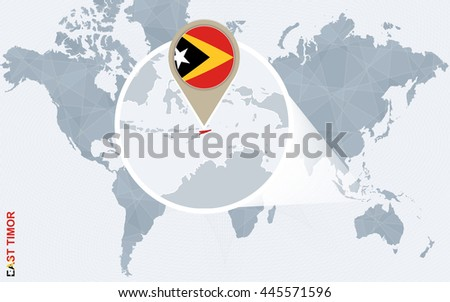 Abstract blue world map with magnified East Timor. Flag and map. Vector Illustration.