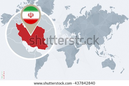 Abstract blue world map with magnified Iran. Iran flag and map. Vector Illustration.