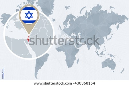Vector israel map and gaza strip country location download free abstract blue world map with magnified israel israel flag and map vector illustration gumiabroncs Choice Image