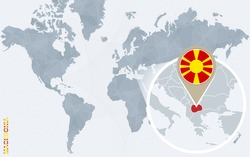 Abstract blue world map with magnified Macedonia. Macedonia flag and map. Vector Illustration.