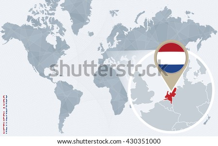 Free vector netherlands flag map pointer download free vector abstract blue world map with magnified netherlands netherlands flag and map vector illustration gumiabroncs Image collections