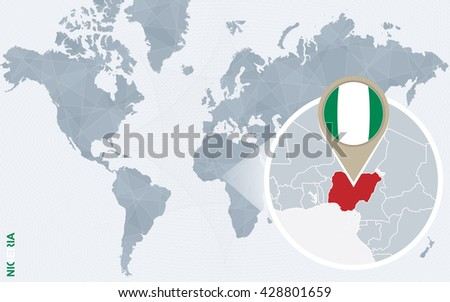 Abstract blue world map with magnified Nigeria. Nigeria flag and map. Vector Illustration.