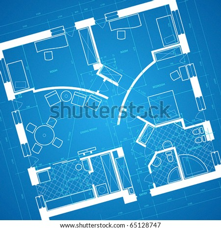 Abstract blueprint background in blue and white colors. Vector illustration.