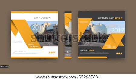 Abstract blurb theme. Black, white brochure cover design. Info banner frame. Ad flyer text font. Hi tech title sheet model set. Modern vector front page. City view texture. Yellow triangles icon fiber