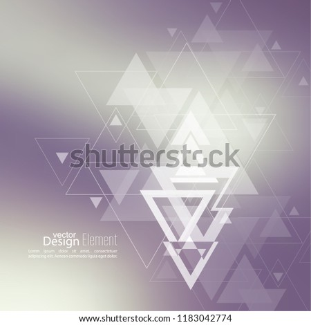 Abstract blurred background with hipster stream flying triangles debris.