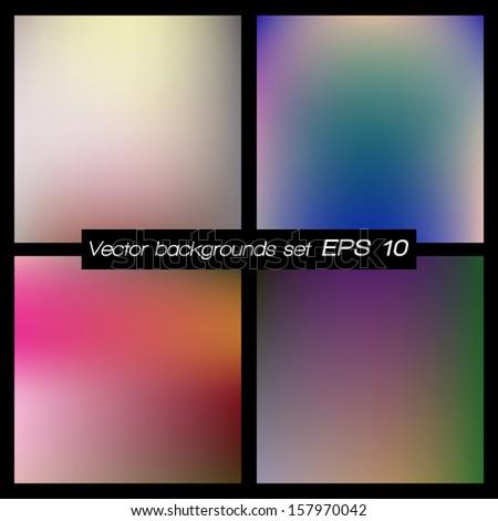Abstract blurred backgrounds set. Soft backgrounds set. Vector illustration EPS 10.