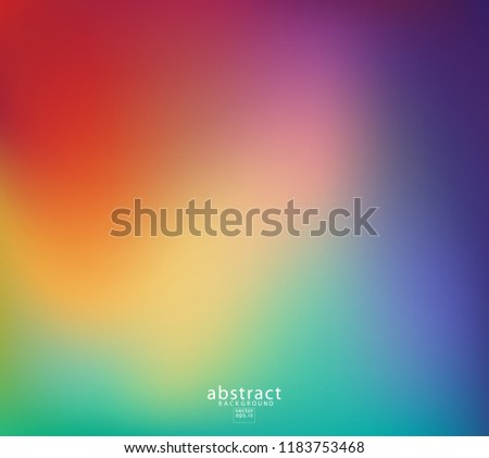 Abstract blurred gradient mesh background bright rainbow colors. Colorful smooth soft banner template. Creative vibrant vector illustration #1183753468
