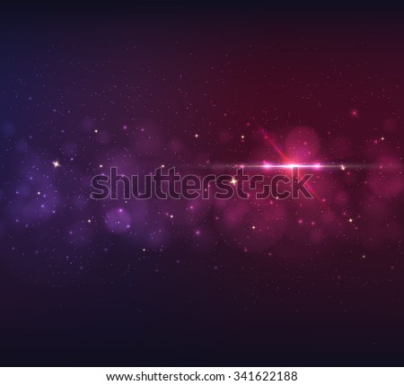 Abstract blurred vector background with light glare, bokeh and glowing particles. Lighting effects of flash. Abstract illustration