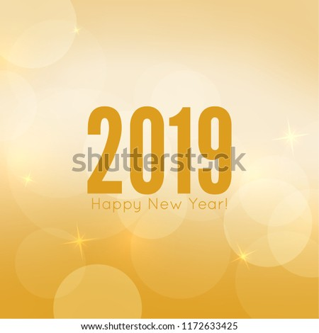 Abstract blurred vector background with sparkle stars. Happy New Year 2019.