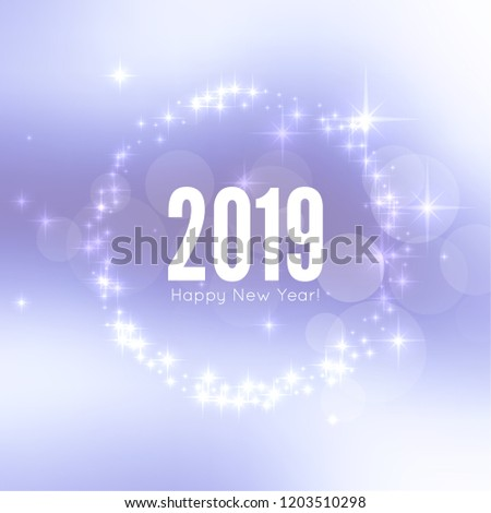Abstract blurred vector background with sparkle stars. Happy New Year 2019 theme.