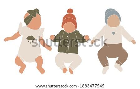 Abstract boho vector set, cute baby silhouette, baby boho portret, abstract silhouette baby girl, nursery vector, abstract kids illustration, boho child design Stockfoto ©