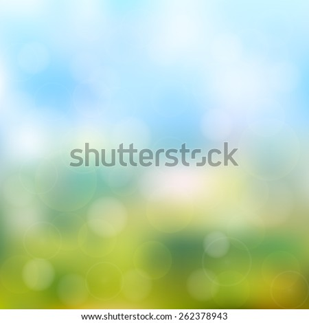 abstract bokeh and lens flare pattern on natural green with blue sky background (vector)