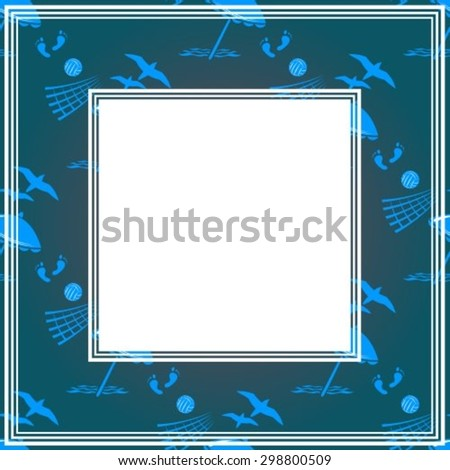 Abstract border with beach symbols on a dark background.