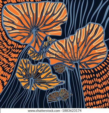 Abstract botanica. Vector illustration. Leaves print Foto d'archivio ©