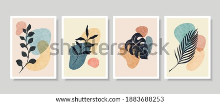 Abstract Botanical Wall Art, Abstract Leaves, boho branch botanical art for wall decoration, postcard or brochure design. Vector illustration.