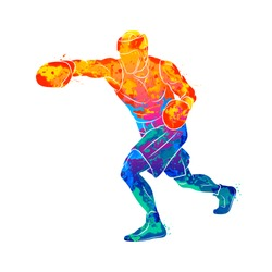 Abstract boxer man, mixed martial arts fighter from splash of watercolors. Vector illustration of paints