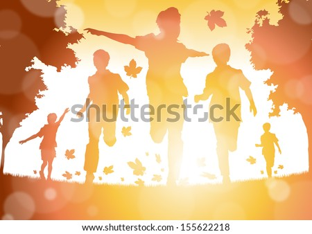 Shutterstock Abstract Boys Running in the Autumn Leaves