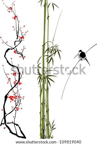 abstract branches of bamboo, cherry tree and bird isolated on the white background.