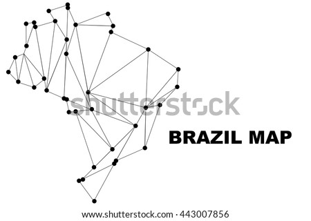 Abstract Brazil Map Lines Connection Vector Illustration - Brazil map illustration