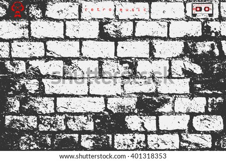 abstract, brick wall surface. vector, street art paper texture. grungy blocks, industrial background design. rough wallpaper with old, distressed bricks pattern, cassette and dj icon