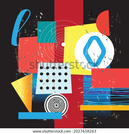 Abstract bright background of unusual geometric objects on a dark background