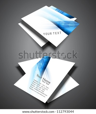 abstract bright blue colorful presentation business card set vector
