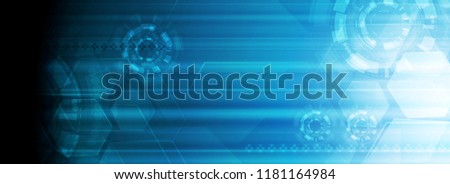 Abstract bright blue shiny technology web header banner. Vector background template with hexagons and gears. Banner illustration